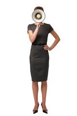 Businesswoman Speaking Through Megaphone Isolated on White