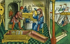 Exodus 31 2-8 Bezalel and Oholiab making the Ark of the Covenant, from the 'Nuremberg Bible (Biblia Sacra Germanaica)'