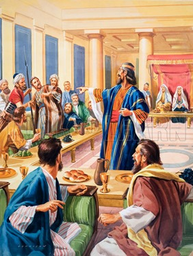 The Parable of the Wedding Feast.  Original artwork for illustration on p18 of The Bible Story issue no 12.  Lent for scanning by The Gallery of Illustration.